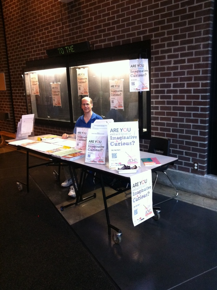 Pete Quily staffing our ADHD info table at The Roundhouse community center in Vancouver BC for ADHD Awareness week. #1 Vancouver Adult ADD Support Group. Photo by Jade.