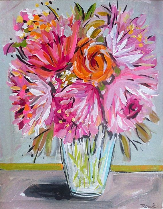 Abstract Flowers Large Roses Peony Still Life by Marendevineart