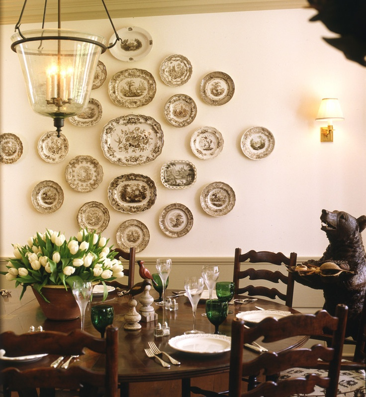 17 best images about decor hanging plates trays on for What to hang on dining room walls