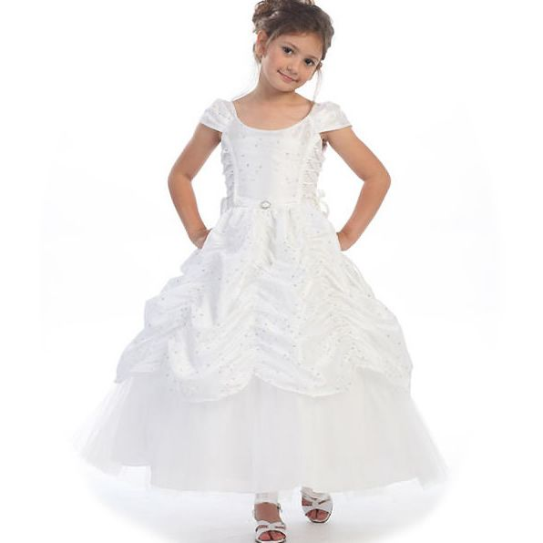 Communion Dresses Ca596 White Princess Pageant Flower Girl Dress Cinderella White