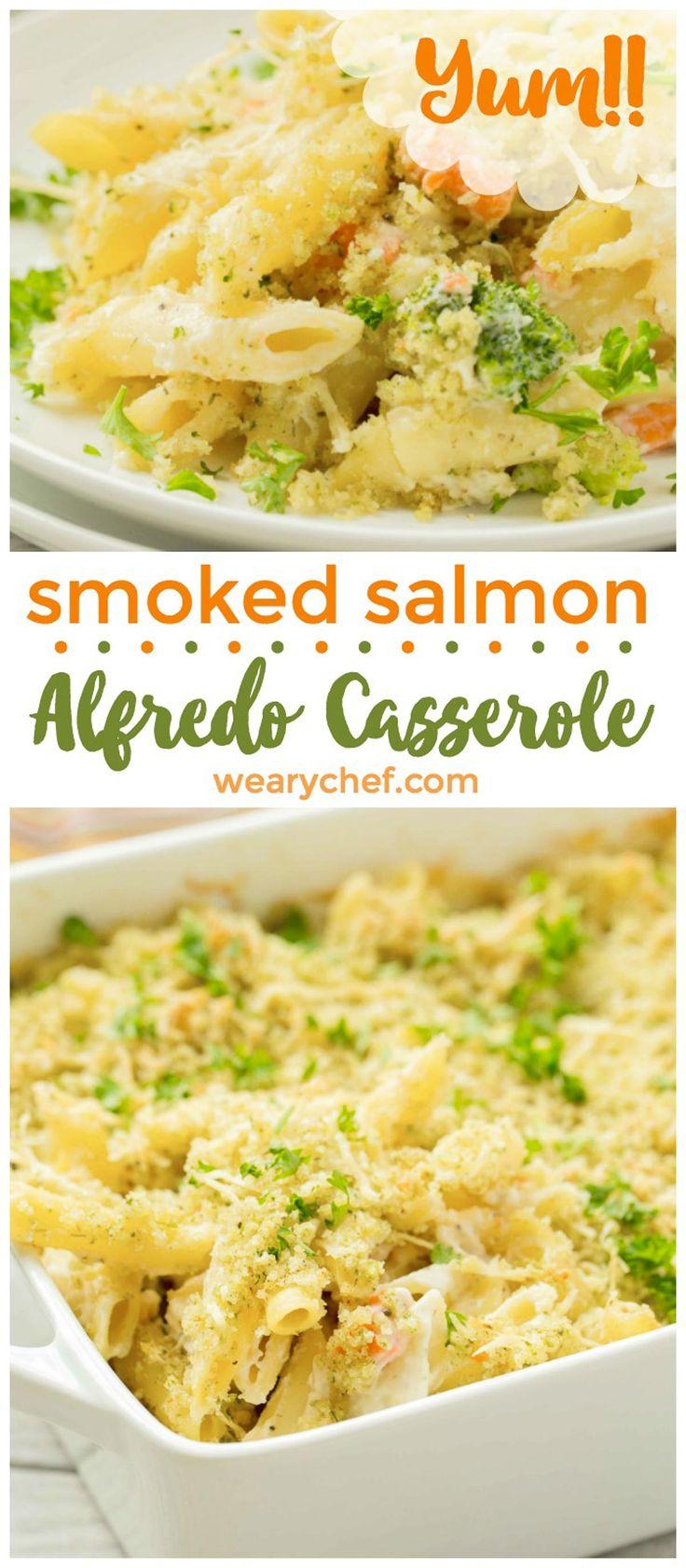 Smoked Salmon Pasta Alfredo Casserole