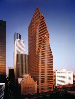 The Bank of America Center located in Houston, Texas was completed in the year of 1983. The building is designed by Philip Johnson and John Burgee is influenced by Gothic architecture. The Bank of America Center has become a major feature of the Houston skyline.