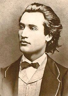 "Portrait of Mihai Eminescu (best known for ""The Vespers,"" and ""The Evening Star"" poems). Photograph taken by Jan Tomas in Prague, 1869."