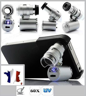 Produs - Microscope magnification X60 with its cover for For Iphone 4 or 4S - LED AND UV