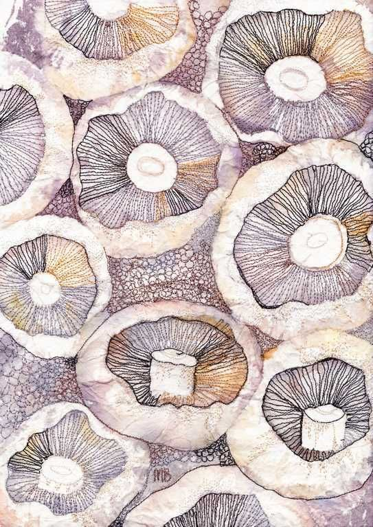 Mushrooms 3   -   Textile Art by Marion Browning.B.A. hons.