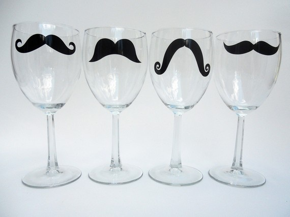 Mustache wine glasses