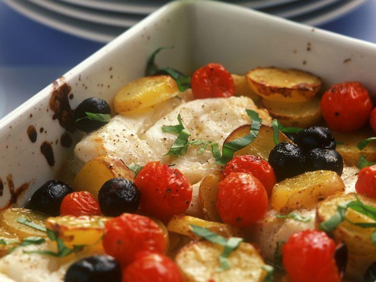 Gebackener Kabeljau mit Oliven - smarter - Kalorien: 321 Kcal - Zeit: 45 Min. | eatsmarter.de