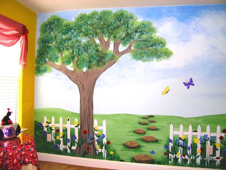 kids tree to paint on wall   Children's Murals for Baby Nursery Custom Children's Murals Nature ...