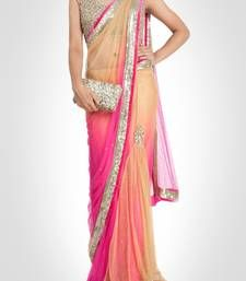 Buy beige embroidered net saree with blouse party-wear-saree online