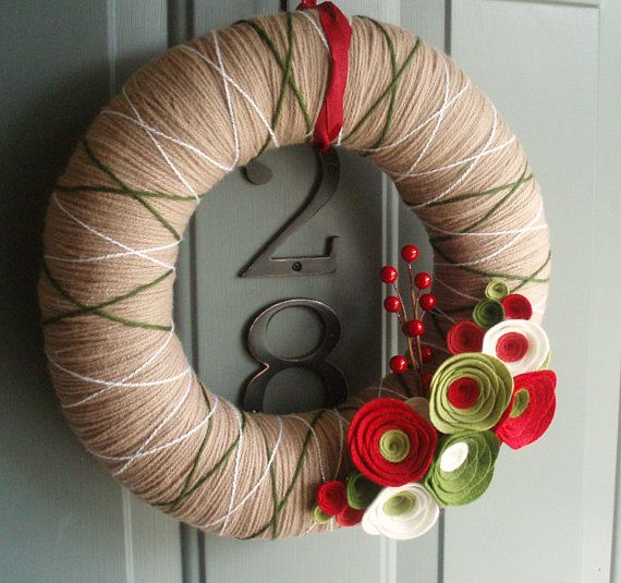 CUTE! Perfect front door fodder.   Yarn Wreath Felt Handmade Holiday Door Decoration  by ItzFitz, $40.00