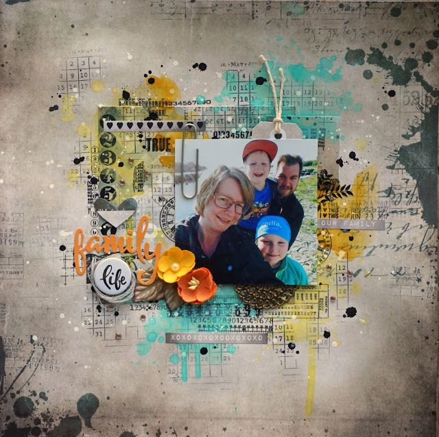 Sara Kronqvist - Saras pysselblogg: Family   Scrapbook layout. Lots of rub-ons and colour!