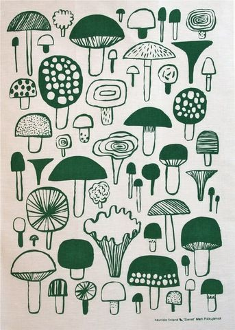 Sienet tea towel by Kauniste ... consider idea (such as plant, mushroom) and how you can modify and translate this...