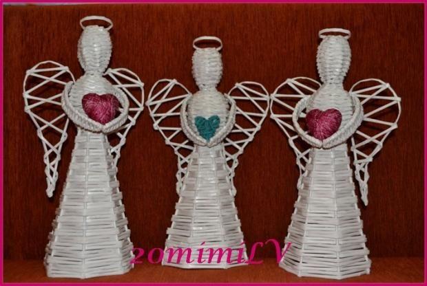Vianočný anjelikovia - papierové pletenie - paplet. Autorka: 20mimiLV. Artmama.sk