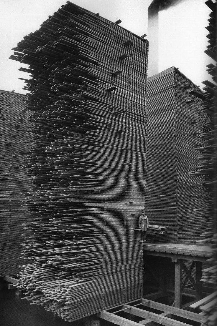 © Webster & Stevens, ca. 1919, Stacks of lumber drying, Seattle