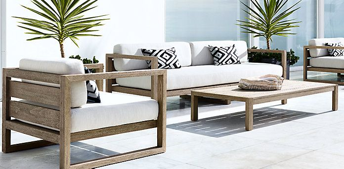 RH's Aegean Teak - I like this a lot. Especially with a great outdoor, brighter color (or even just one that will weather kids and the weather well).