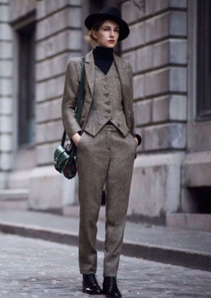 Rare NWOT Toast Ladies Donegal Tweed Slim Trousers Size 10 mid grey RRp £125