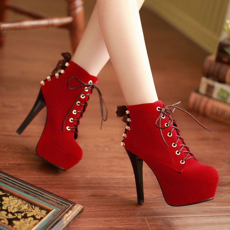 Women Lace Up High Heels Platform Ankle Boots Stiletto Heel 5060