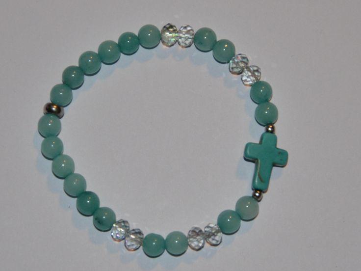 niebieska bransoletka z krzyżem