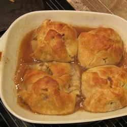 """These are the ones my grandmother used to make: warm, flaky, apple-y sweet and drizzled with a sauce that bakes right with them. These are not difficult to make, just a little time-consuming. Serve warm with whipped cream or ice cream."" Old Fashioned Apple Dumplings - Allrecipes.com"