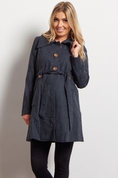 Navy Sash Tie Maternity Coat
