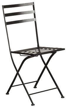 4D Concepts Metal Chairs, Black, Set of 2 traditional-outdoor-folding-chairs
