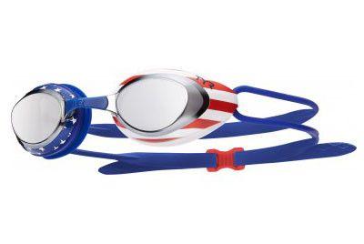 TYR - Blackhawk Racing USA Mirrored Silver/Red/Navy Swim Goggles