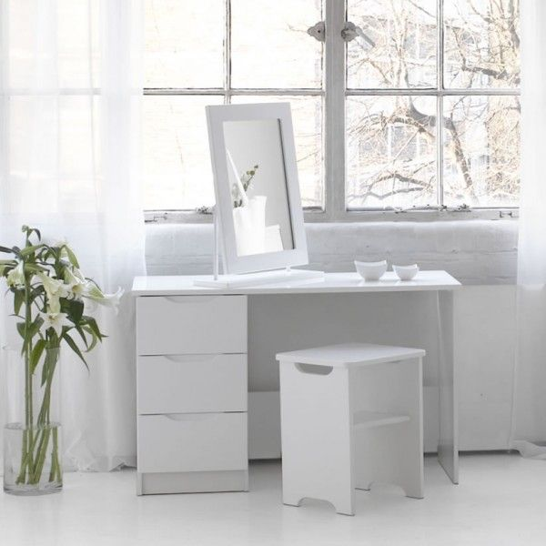 Trend White High Gloss Dressing Table, Stool And Mirror Option