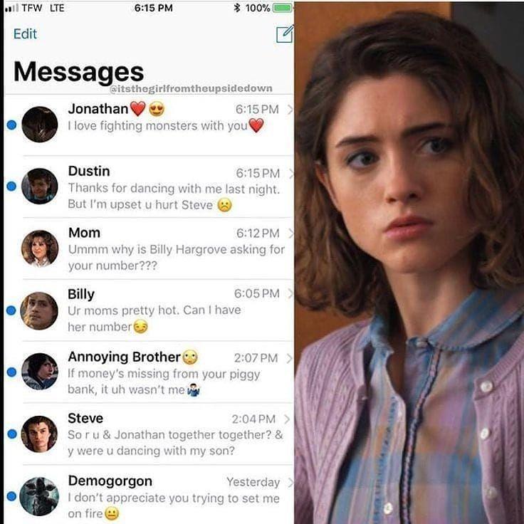 Inside Nancy Phone Part 10 Credit Stranger Things Quote Stranger Things Funny Stranger Things