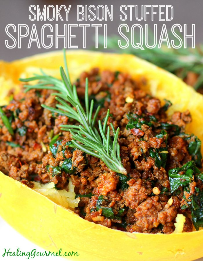Need a new way to enjoy spaghetti squash? Try our spicy-smoky Paleo Bison Stuffed Spaghetti Squash recipe
