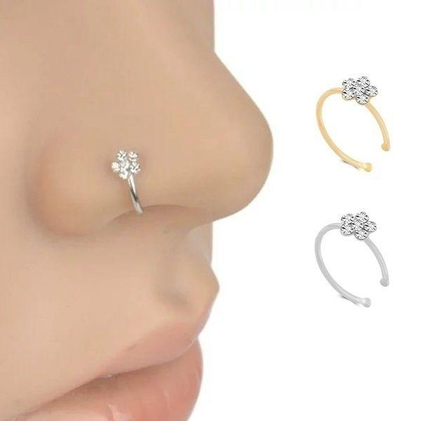 1pcs Nose Stud Clip Fake Septum Piercing False Nose Ring Vn