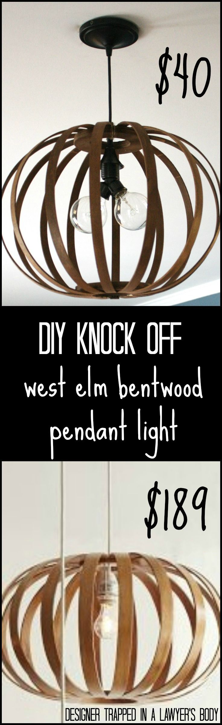 MUST PIN! Totally genius idea for making a West Elm knock off Bentwood Pendant light. Full tutorial by Designer Trapped in a Lawyer's Body.  #westelmknockoff