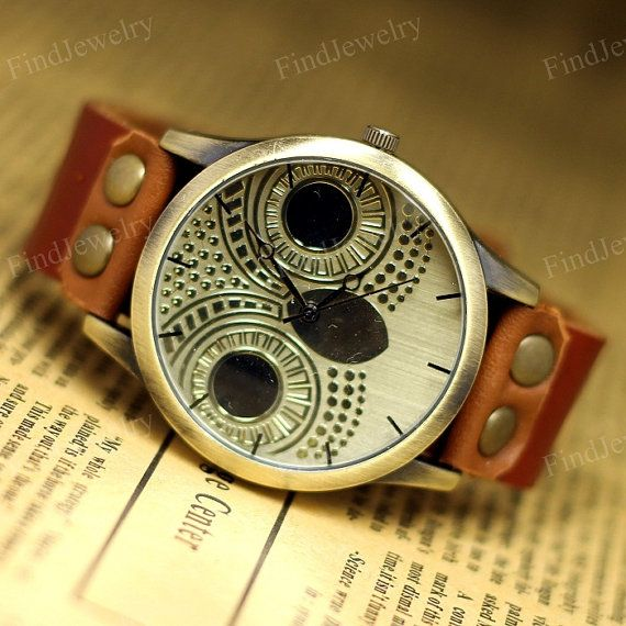 Owl Watch Women Vintage watches Genuine Leather by FindJewelry, $14.99 montre femme vintage cuir