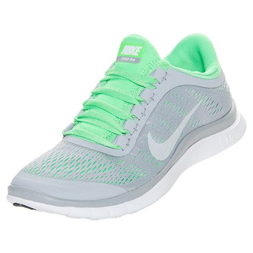 Women's Nike Free 3.0 v5 Running Shoes | FinishLine.com | Wolf Grey/White/Poison Green