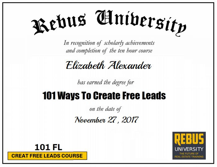 Congratulations to Elizabeth Alexander for completing Certified 101 Ways To Create Free Leads Course! You rock!🤘