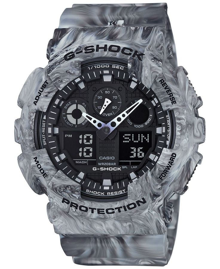Rock solid: a handsome gray marbled design lends this multifunctional watch by G-Shock an intriguing appearance. | Gray marbled resin strap | Rounded case, 55x51mm | Gray dial with stick indices, thre