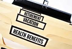 Benefits of my job include: - health care - dental - chiro - good retirement savings