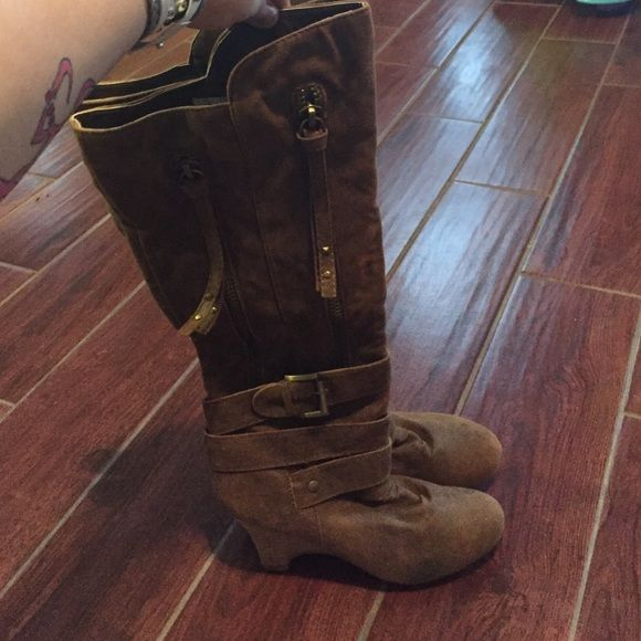 Distressed brown wedge boots Zippered distressed wedge boots! Super cute reposted Bc they don't fit me! :(. MAKE AN OFFER!!! :) Not rated Shoes Heeled Boots