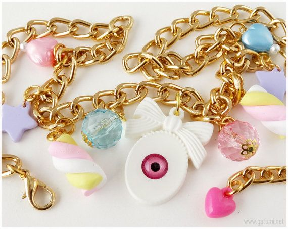 Fairy Kei Eyeball Necklace Cute Candy Charms Gold Plated by gatumi