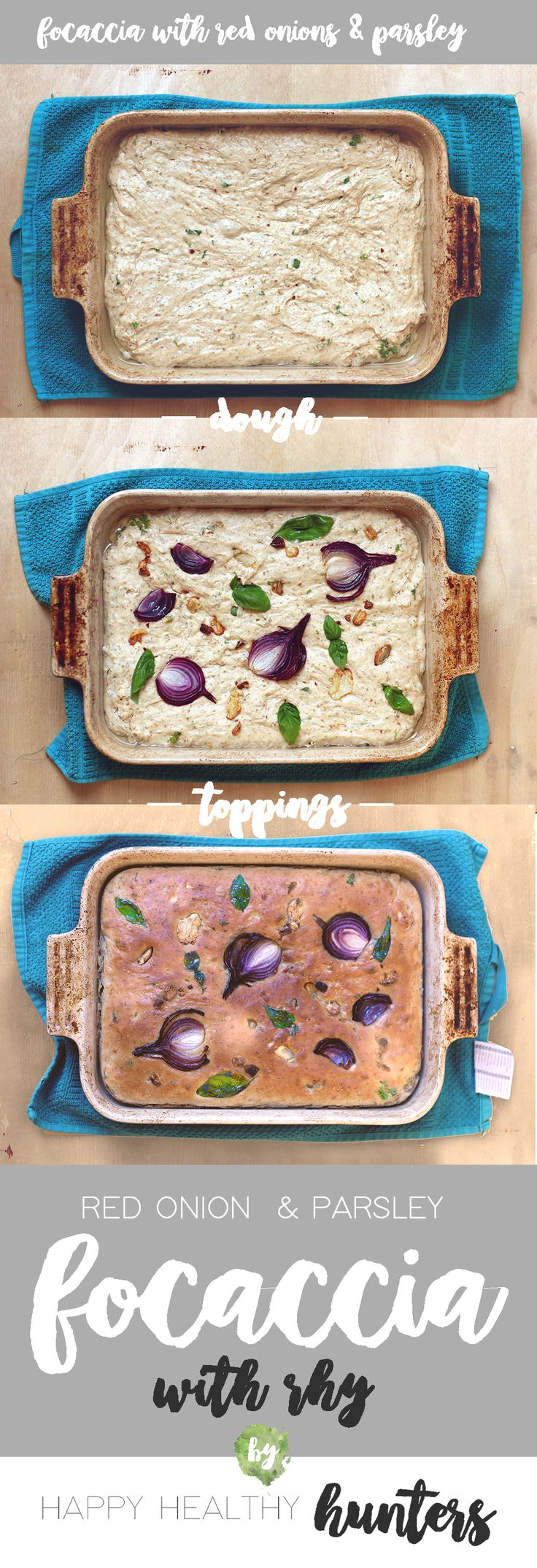 Rhy Focaccia Bread Recipe with Red Onion and Basil