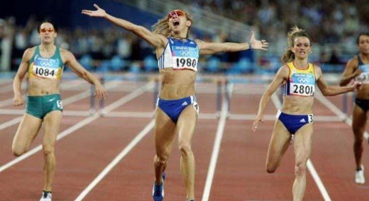 Athens 2004. Gold medal in 400m hurdles. Fani Chalkia