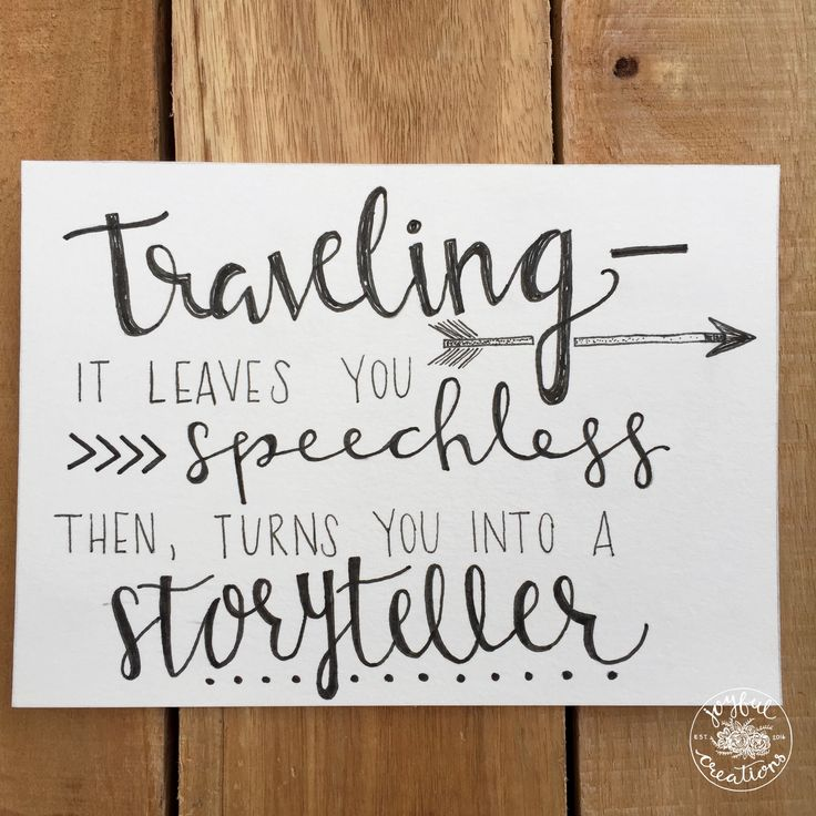 traveling quote hand lettering home decor wall art adventure storyteller