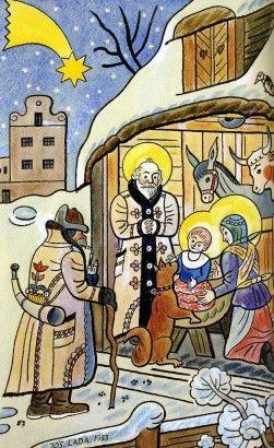 Josef Lada Svatá noc 1933 kolorovaná kresba