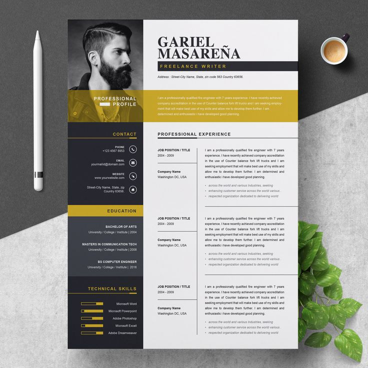 Resume Template | Modern & Professional Resume Template for Word | CV Resume + Cover Letter | A4 Size, 2 Pages Pack | Cover Letter