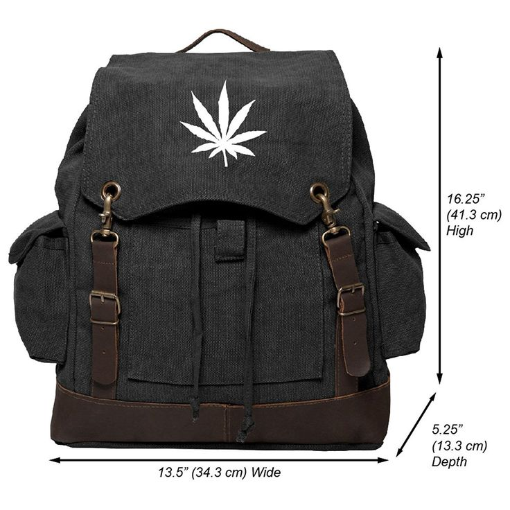 Marijuana Leaf Vintage Canvas Rucksack Backpack with Leather Straps ** You can get additional details, click the image : Day backpacks