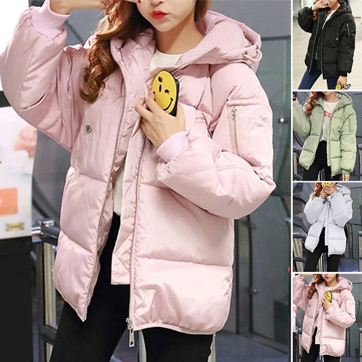 Women Cotton Winter Coat Hooded Zip Up Loose Puffer Quilted Jacket Pink/Green J# | Clothes, Shoes & Accessories, Women's Clothing, Coats & Jackets | eBay!