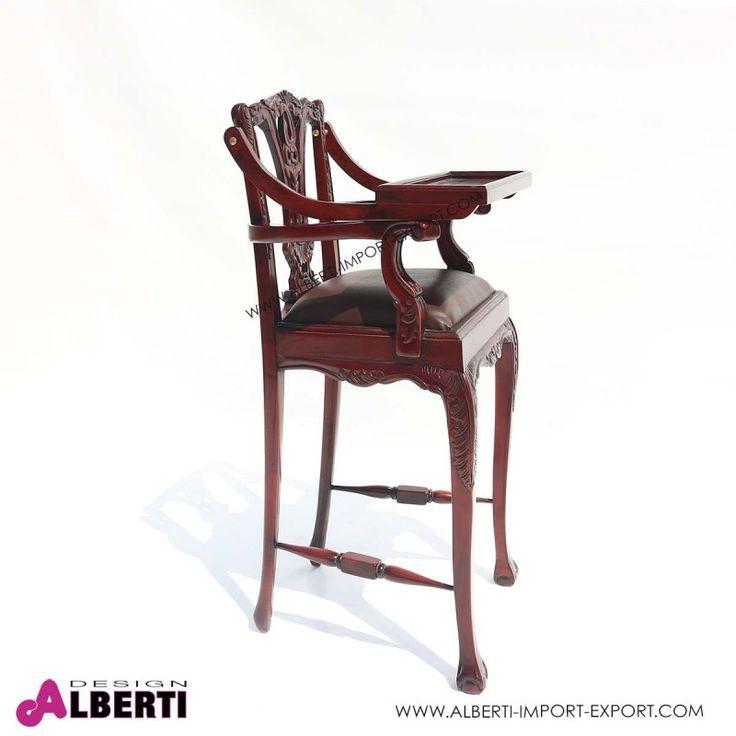 Seggiolone bambini in legno con ripiano mobile 51x50x100 Seduta in eco pelle marrone per il seggiolone in legno lavorato a mano. Pratico e comodo il piano di appoggio che si alza www.albertidesign.it