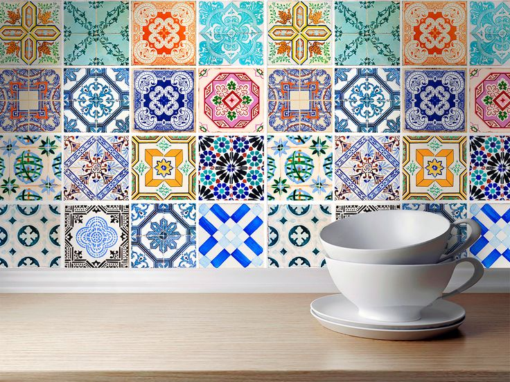 Wall Decoration for Kitchen Remodeling Traditional Spanish Tiles (Pack with 48) - 4 x 4 inches