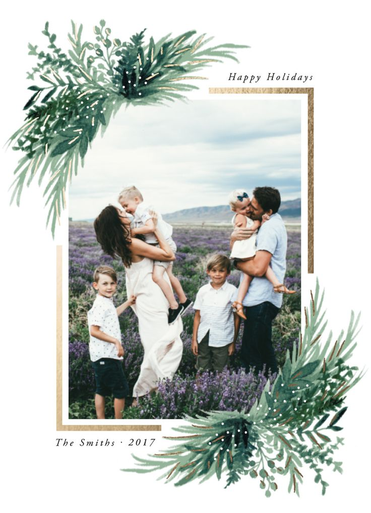 """Holiday photo card with real gold foil details and illustrative greenery. """"Eve"""" by Minted artist, Elly."""