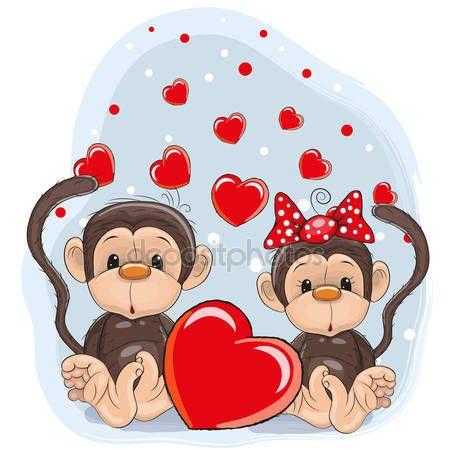 Descargar - Los amantes monos — Ilustración de stock #73368117