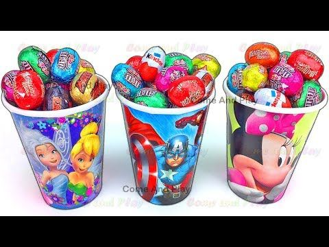Super Surprise Eggs Kinder Surprise Kinder Joy Disney Princess Pixar Cars Peppa Pig Learn Colors - YouTube